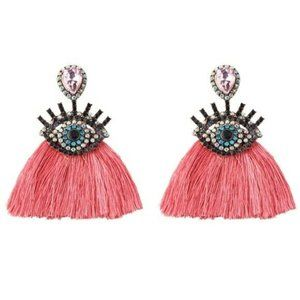 Pink Tassel Boho Crystal Evil Eye Eyelash Earrings